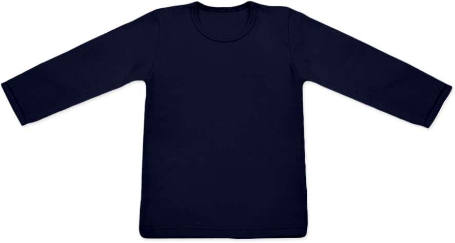 dětské tričko DLOUHÝ RUKÁV s elastanem, TMAVĚ MODRÁ 80